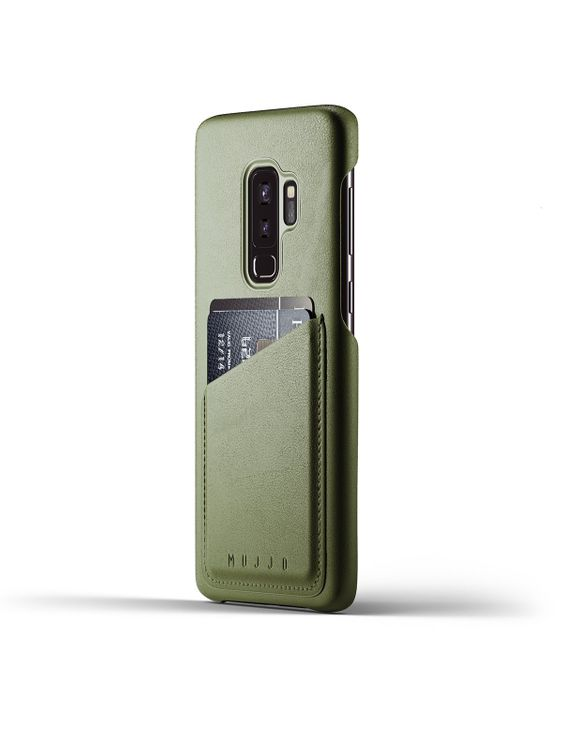 MUJJO Mujjo Full Leather Wallet Case for Galaxy S9 Plus Olive
