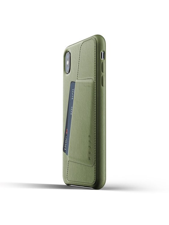 MUJJO Mujjo Full Leather Wallet Case for iPhone XS Max Olive