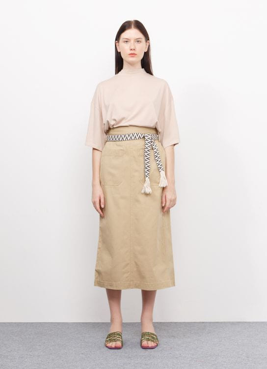Sevendays Sunday Serra Skirt with Belt - Beige