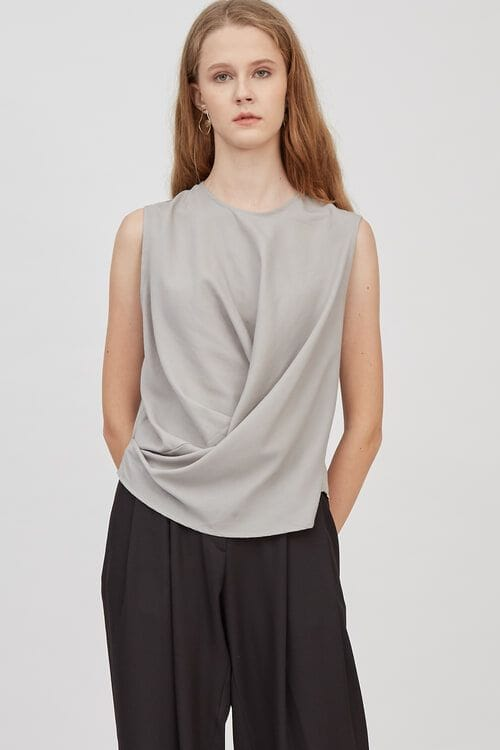 Shopatvelvet Twisted Tank Light Grey