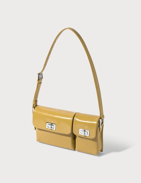 By Far Billy Yellow Semi Patent Leather Bag