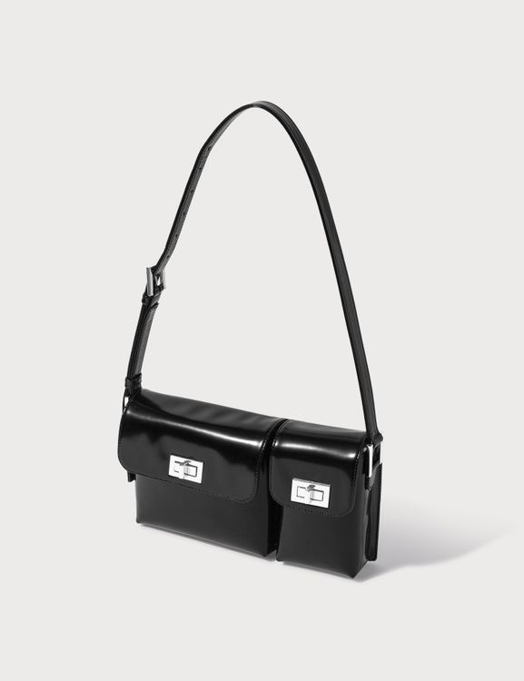 By Far Billy Black Semi Patent Leather Bag
