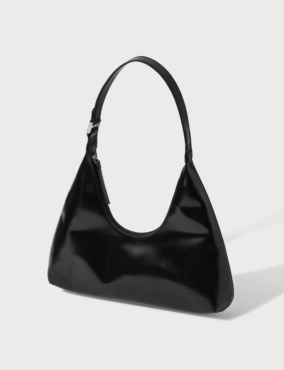 By Far Amber Black Semi Patent Leather Bag