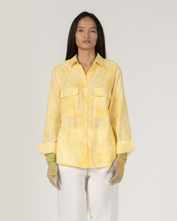 3Mongkis Talia Linen Top Yellow