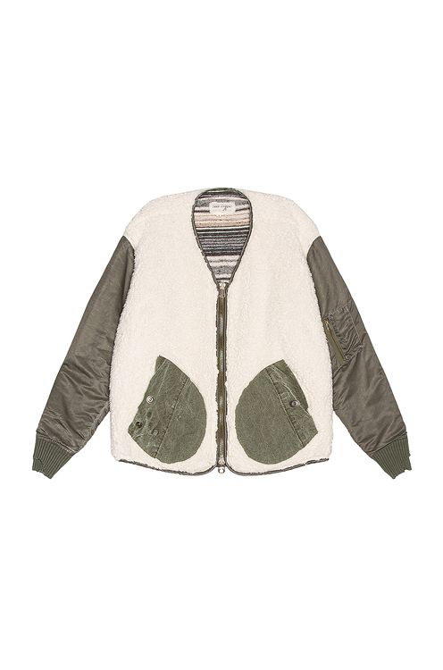 Greg Lauren Sherpa Washed Modern Flight Jacket