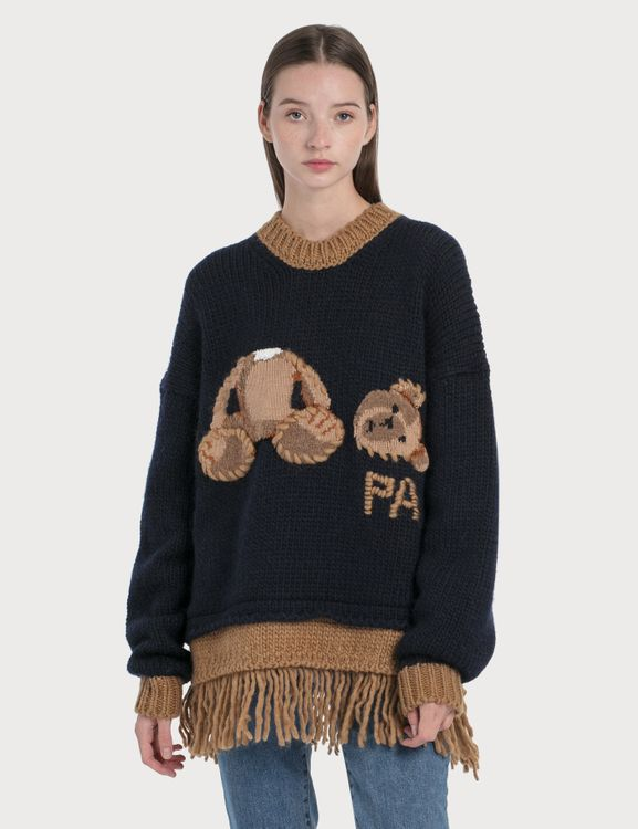 Palm Angels Bear Fringed Sweater