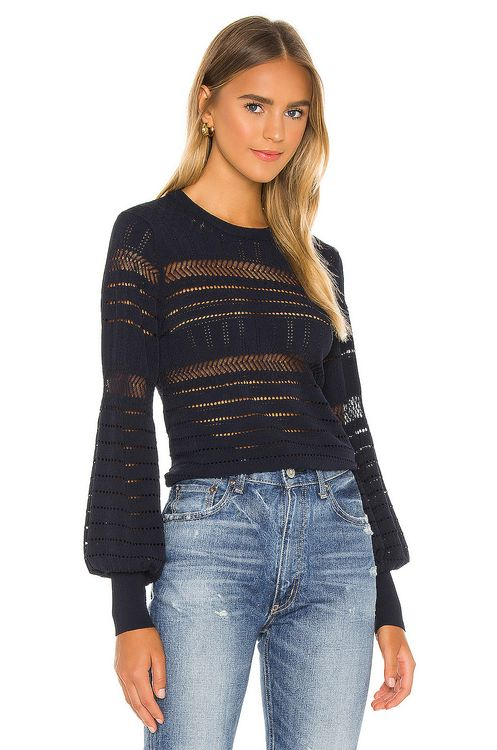 Autumn Cashmere Pointelle Juliette Sleeve Crew Sweater