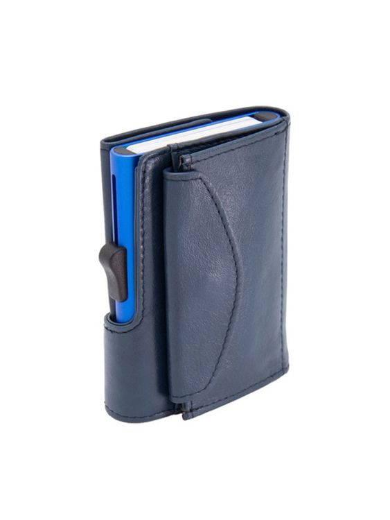 C-Secure C-Secure XL Italian Leather Wallet with Coin Pouch RFID Cobalto Blue