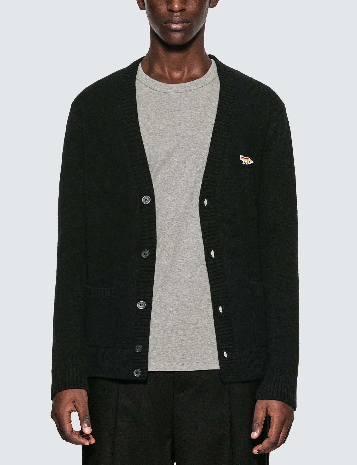 MAISON KITSUNE Embroidered Fox Lambswool Cardigan