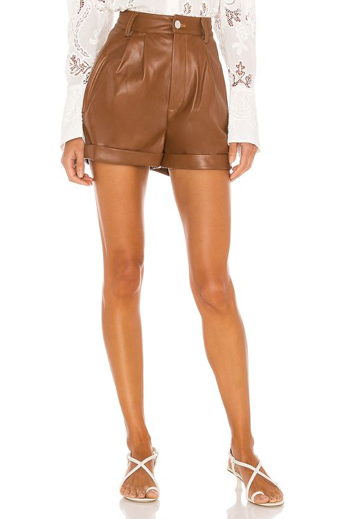 Divine Heritage Cuffed Pleated Vegan Leather Shorts