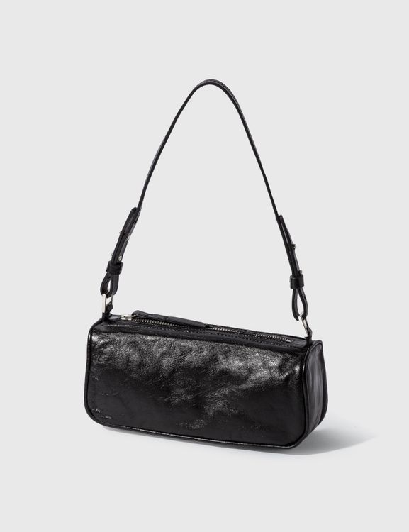By Far Eve Black Creased Leather Bag