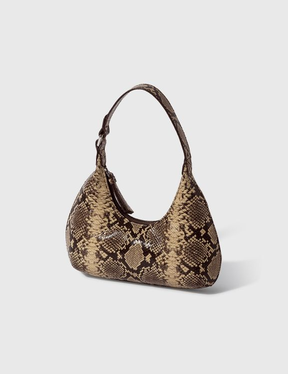 By Far Baby Amber Mocha Snake Print Leather Bag