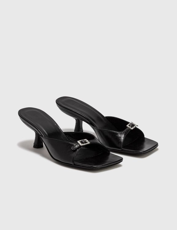 By Far Erin Black Creased Leather Sandal