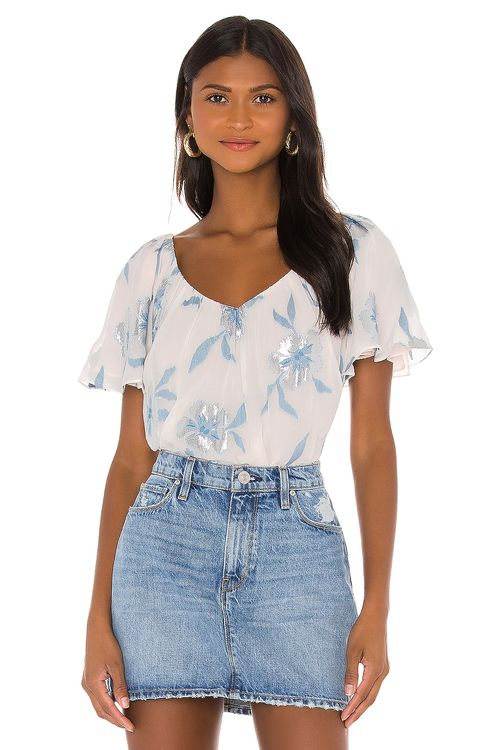 Rebecca Taylor Sleevelss Metallic Fleur Top