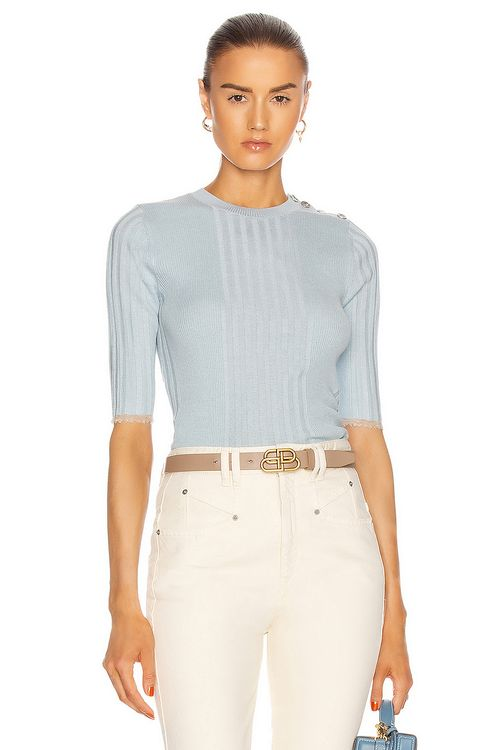 Proenza Schouler Short Sleeve Fitted Sweater