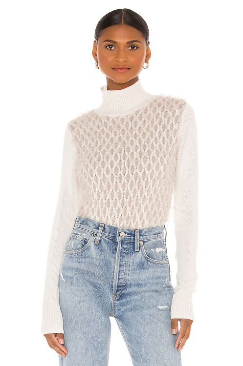 Autumn Cashmere Fluffy Honeycomb Mock Sweater
