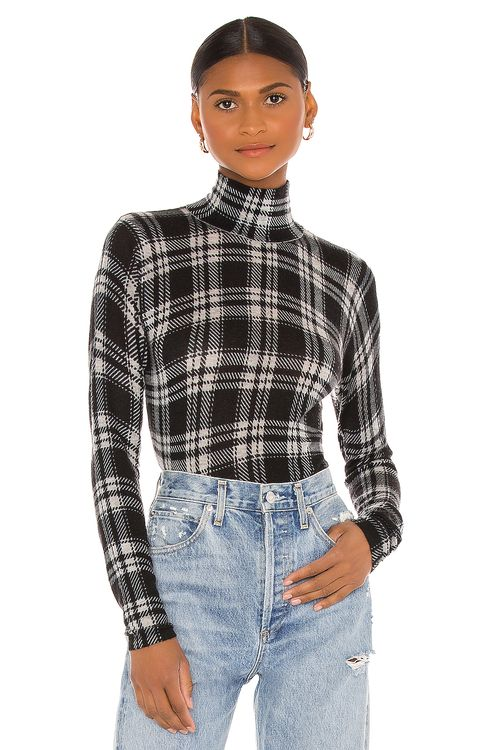 Autumn Cashmere Printed Plaid Sheer Turtleneck