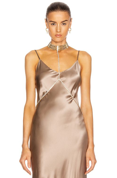 Alessandra Rich Gold Crystal Body Chain