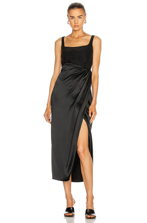 Brandon Maxwell Satin Bustier Cocktail Dress With Wrap Skirt