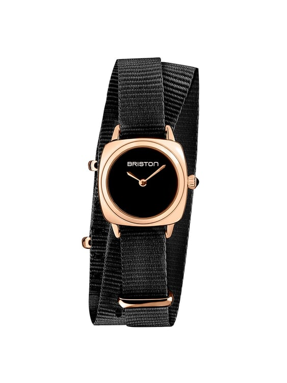 BRISTON Briston Clubmaster Lady Steel HM Black Dial Rose Gold Black Double Tour Nato Strap 24MM