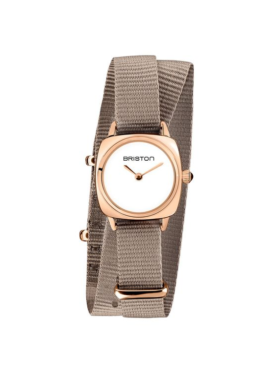 BRISTON Briston Clubmaster Lady Steel HM White Dial Rose Gold Taupe Double Tour Nato Strap 24MM