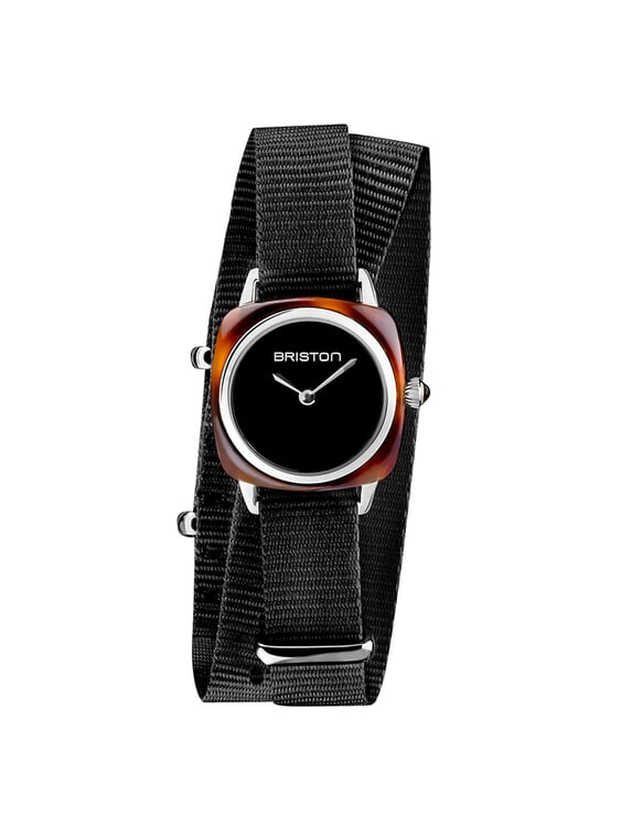 BRISTON Briston Clubmaster Lady Acetate HM Tortoise Shell Black Dial Black Double Tour Nato Strap 24MM