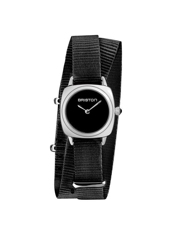 BRISTON Briston Clubmaster Lady Steel HM Black Dial Black Double Tour Nato Strap 24MM