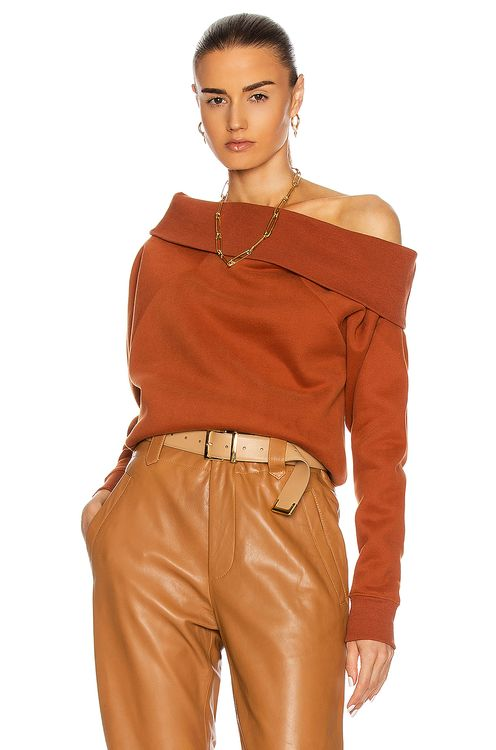 Marissa Webb So Relaxed Off The Shoulder Plush Sweatshirt