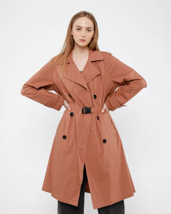 Hattaco Summer Trench Coat Caramel Pink