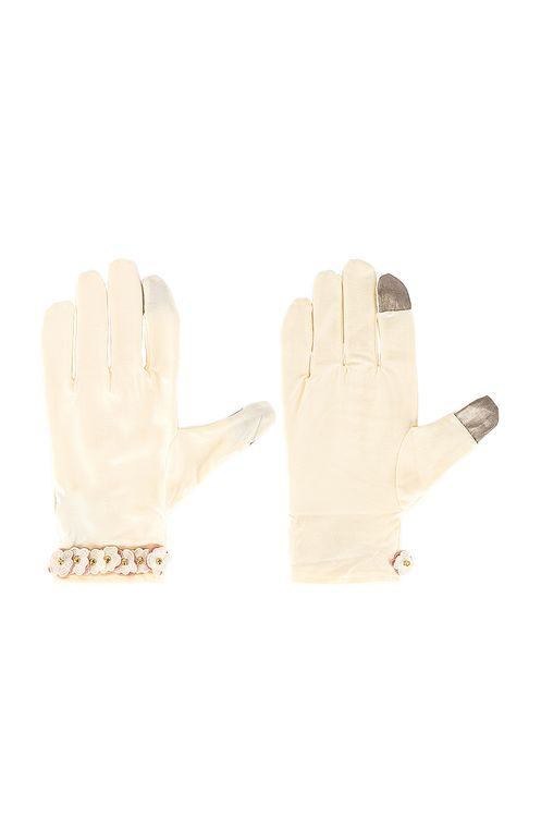 Lele Sadoughi Floral Applique Washable Gloves
