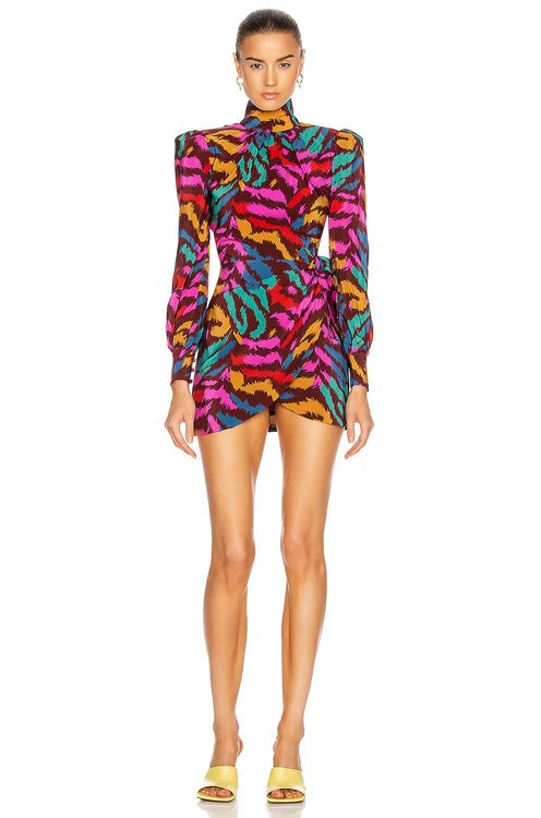 Alessandra Rich Silk High Neck Mini Dress with Bow Detail