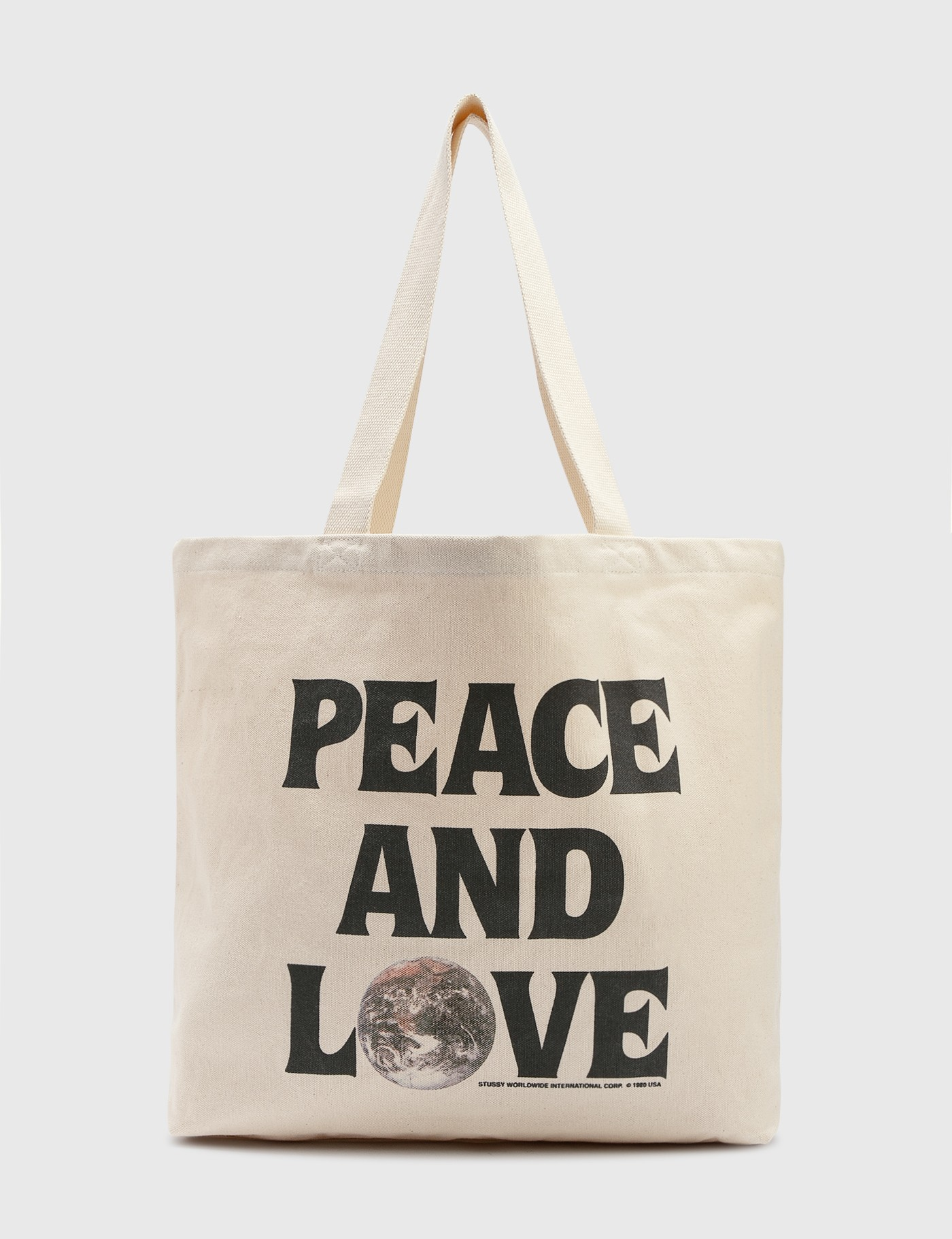 Stussy Peace And Love Canvas Tote Bag