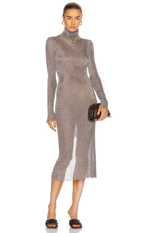Mugler Long Sleeve Turtleneck Dress