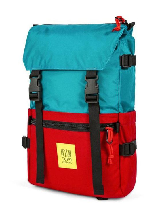 TOPO DESIGNS Topo Designs Rover Pack Turquoise Red
