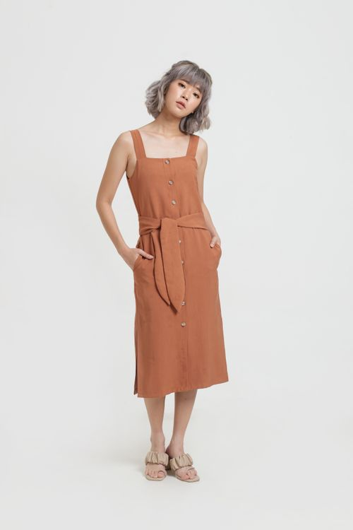 CLOTH INC Brick Button Tied Dress
