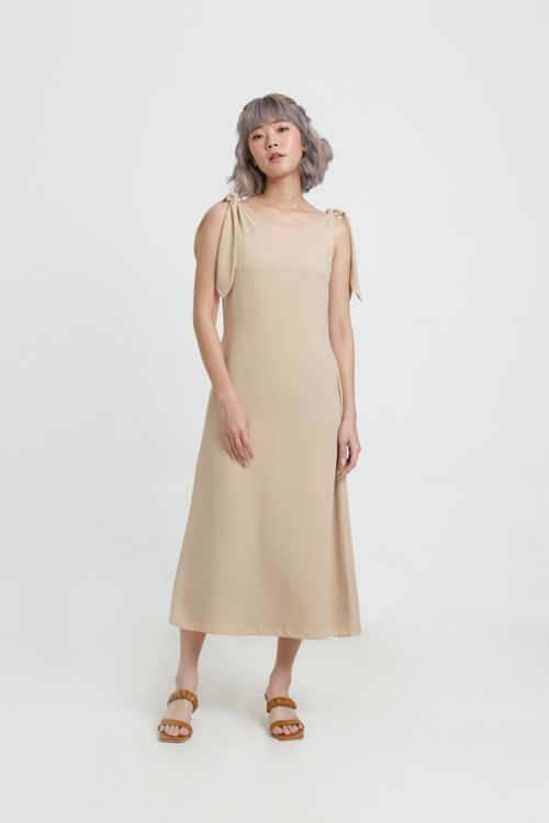 CLOTH INC Creme Bow Shoulder Dress