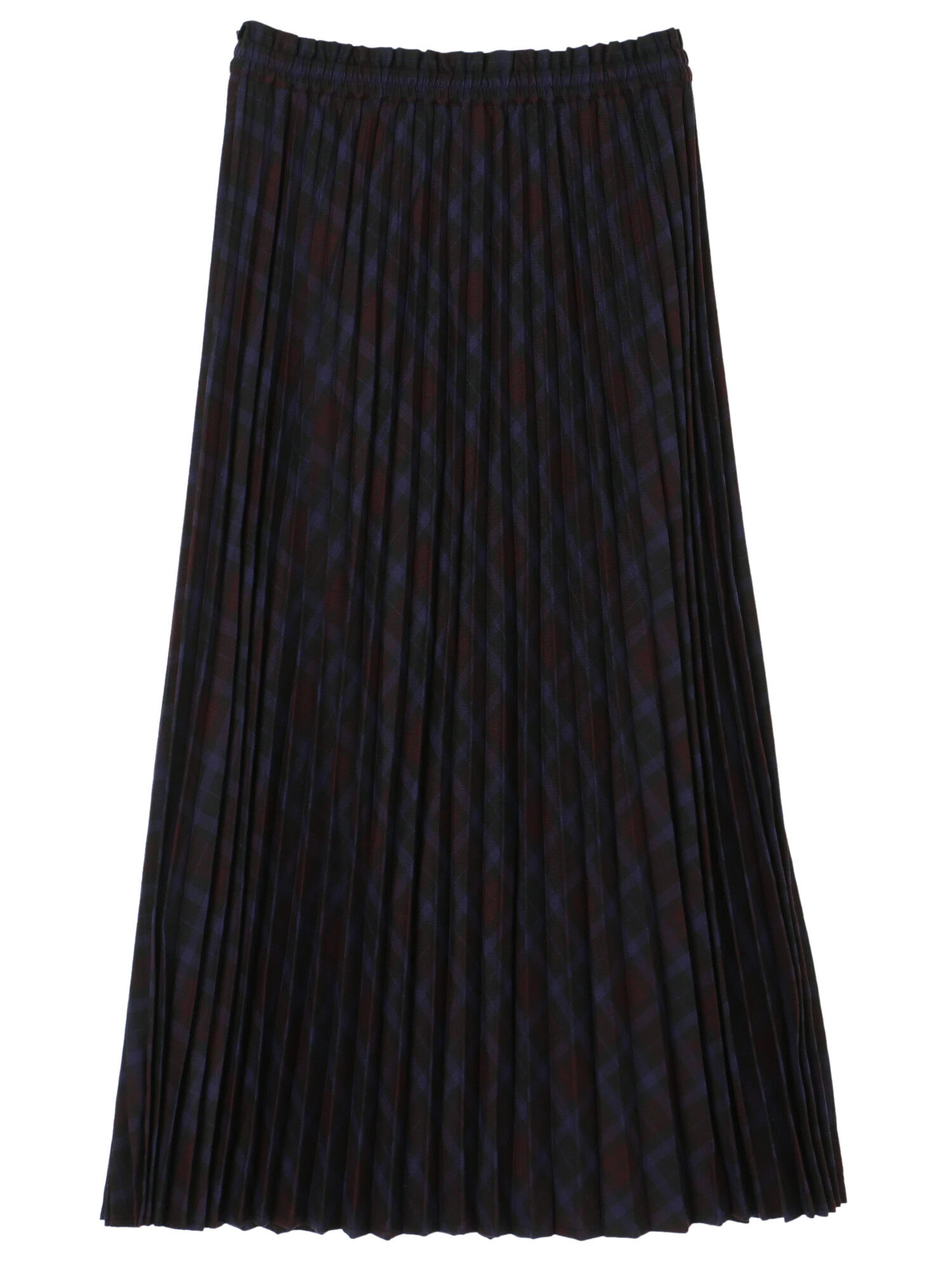 Earth, Music & Ecology Aysen Pleated Skirt - Check Navy