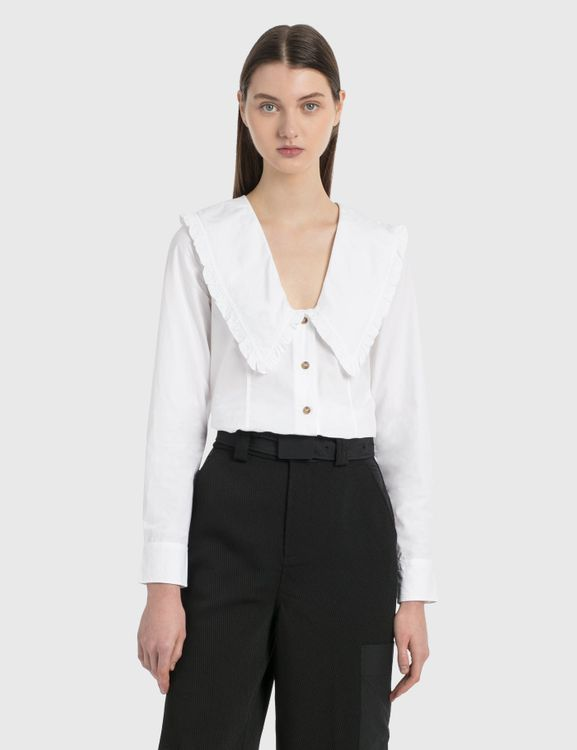 Ganni Cotton Poplin Frill Shirt