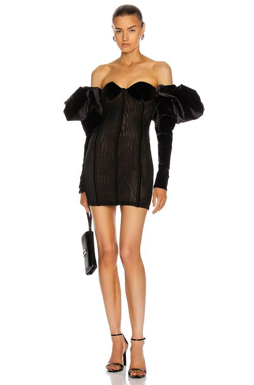 LaQuan Smith Off Shoulder Puff Sleeve Dress