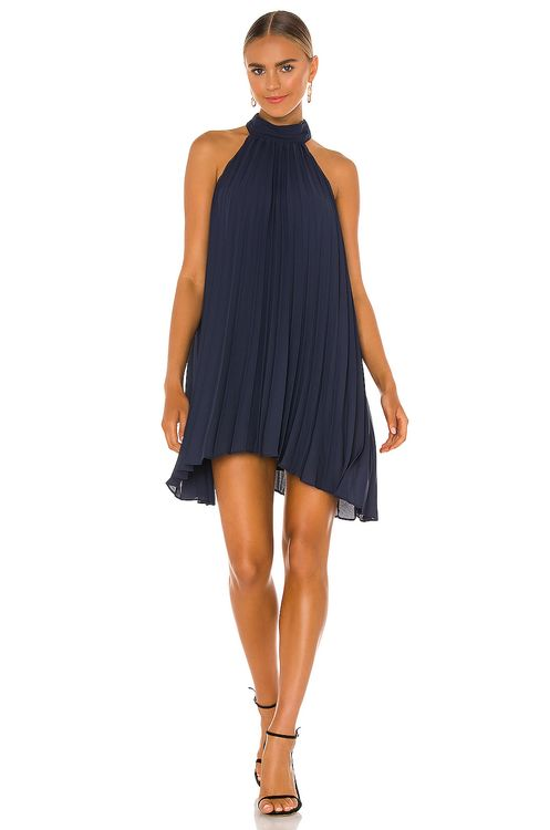 krisa Smocked Neck Pleated Mini Dress