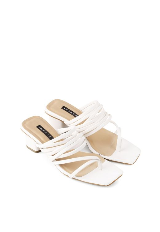 INPACA White Elliot Strappy Low Heeled Sandals