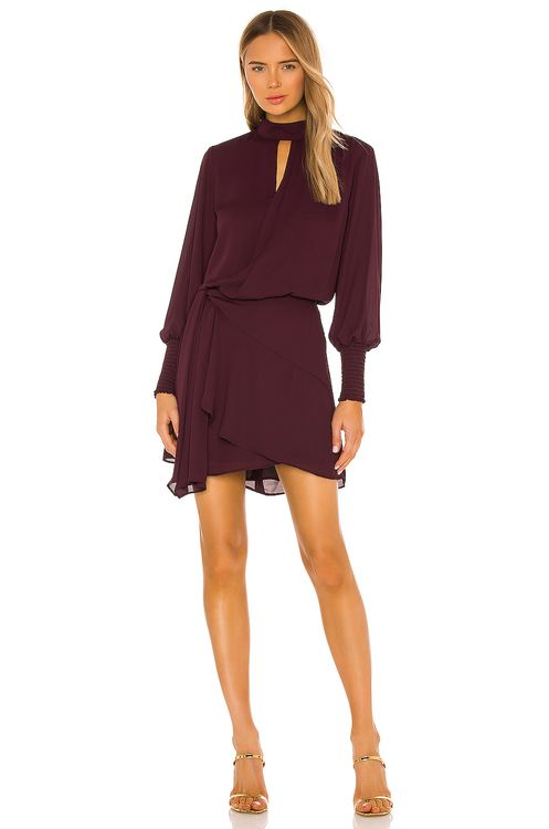 krisa Drape Front Turtleneck Mini Dress