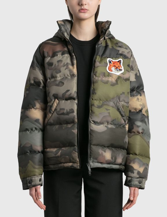 MAISON KITSUNE Velvet Fox Head Patch Short Down Jacket