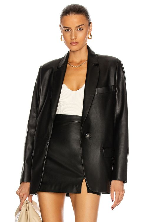 Attico Single Breasted Leather Jacket