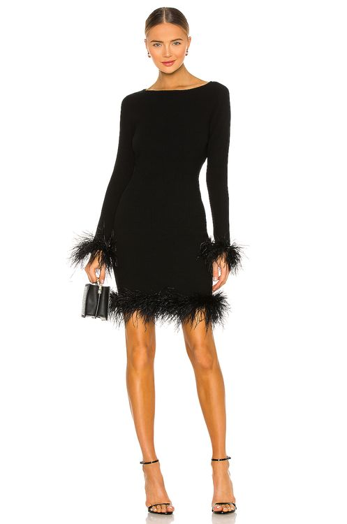 Milly Feather Hem Fitted Dress