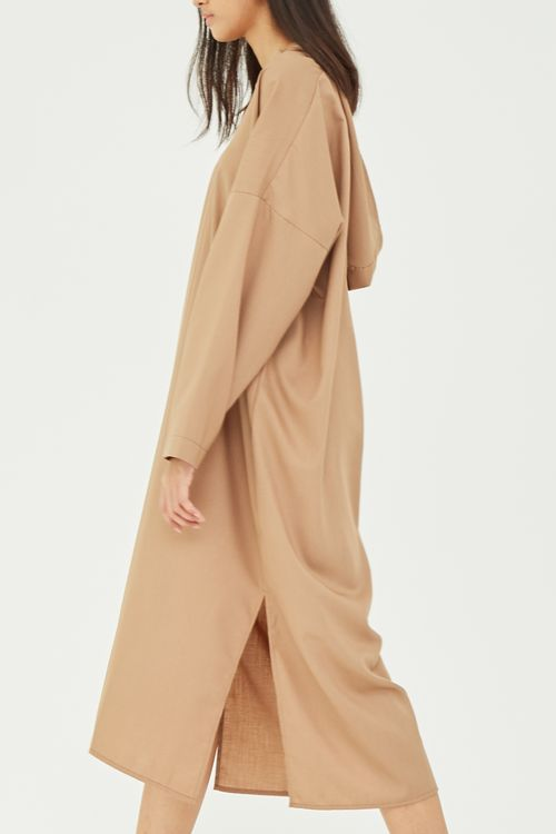 Shopatvelvet Hooded Dress Beige