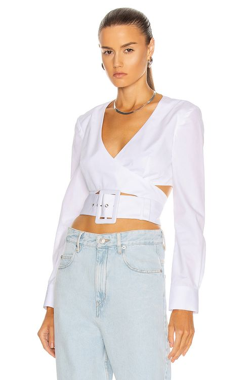 Rosie Assoulin Wrapped Belted Crop Top