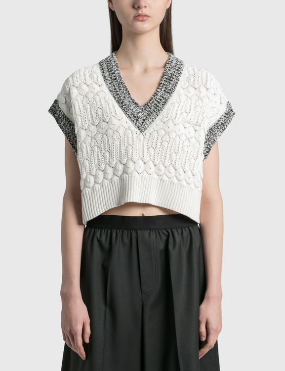 We11done Lace Crop Knit V Neck Vest