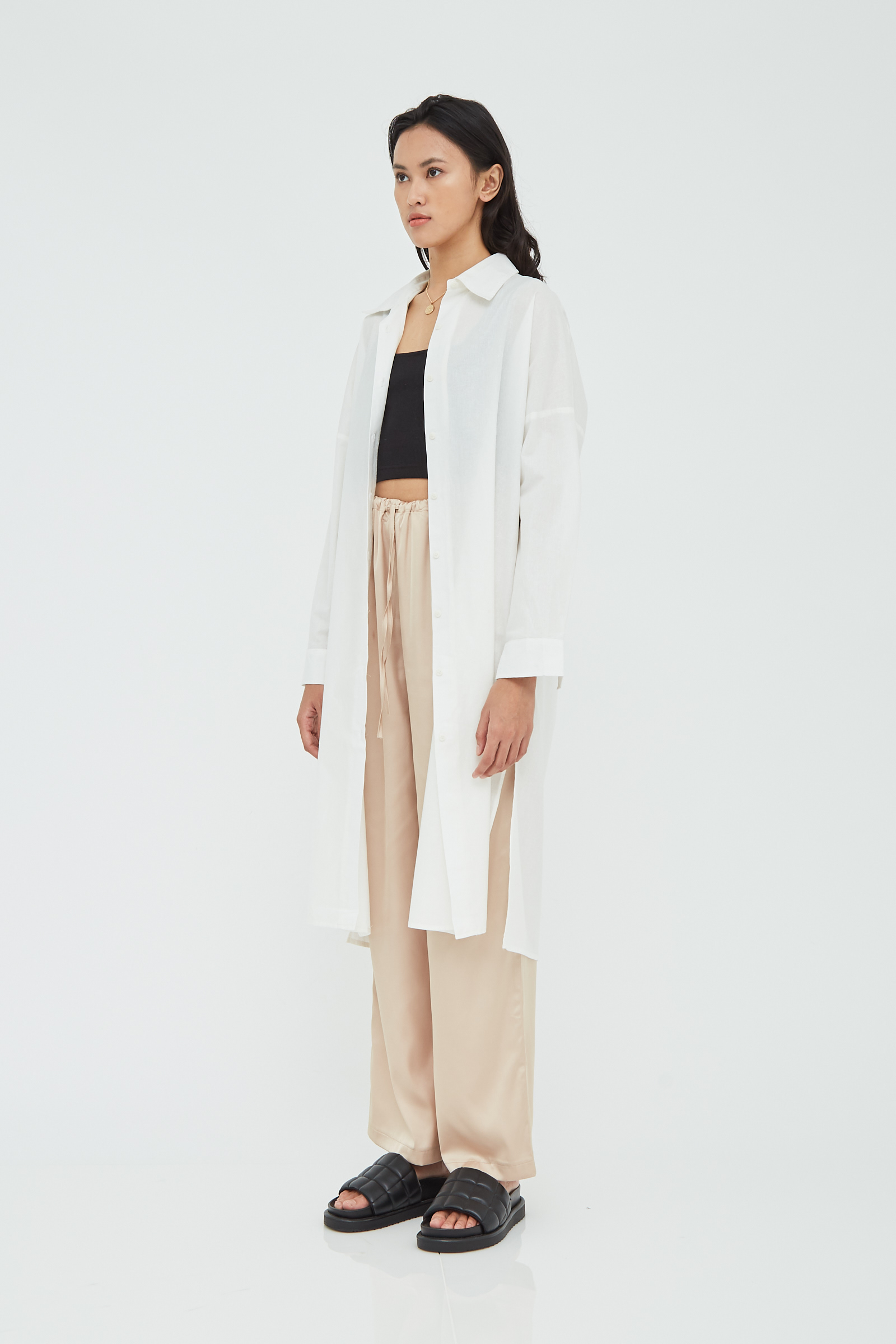 Shopatvelvet Perry Shirt Dress White
