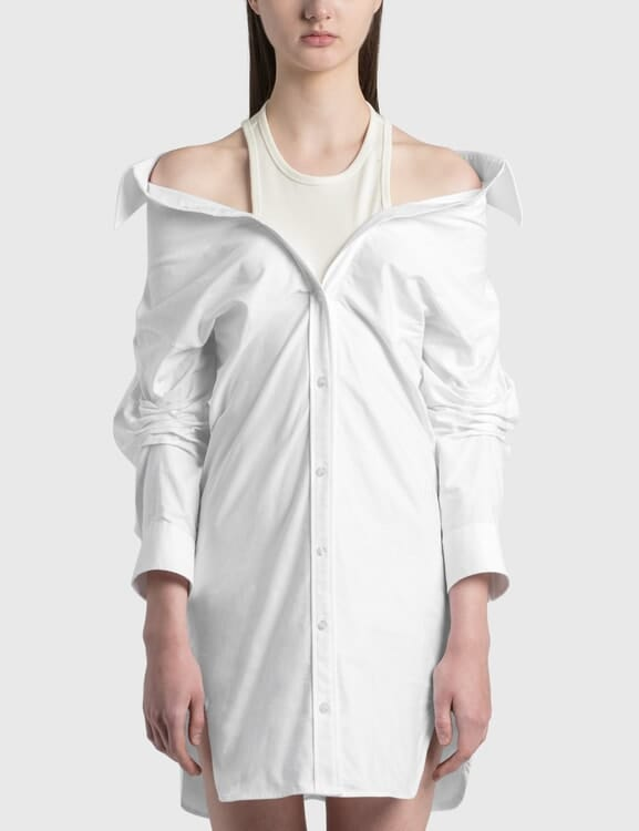 Alexander Wang.T Off-Shoulder Shirt Dress With Inner Tank